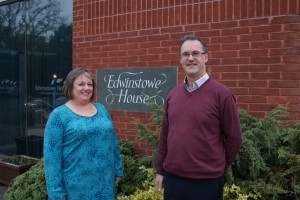 Hilary Cheshire, Financial Director and David Woodhead Managing Director outside edwins