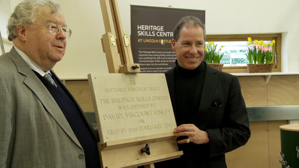 Lord Cormack and Viscount Linley at the Skills Centre